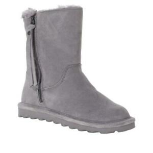 BEARPAW Women's Lindsay Suede Quilted Boots with NeverWet Size 8M Grey Fog