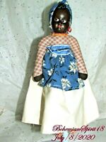 ANTIQUE 1930's African Composition Face Cloth Body 12'' DOLL