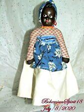 ANTIQUE 1930's BLACK Composition Face Cloth Body 12'' DOLL