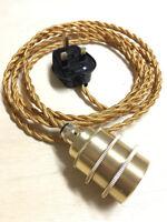 Fabric Flex Cable Plug In Pendant Brass Lamp Holder Set E27 & Vintage Bulb