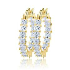 Elegant Gold Plated White Cubic Zirconia Hoop Earrings/Loop Earrings, 25 MM
