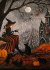 5x7 PRINT OF PAINTING RYTA HALLOWEEN WITCH BLACK CAT VINTAGE STYLE FOLK ART