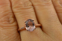 2Ct Oval Cut Peach Morganite Engagement Solitaire Ring 14K Rose Gold Finish