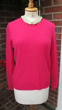 new ANTONI & ALISON 100% cashmere fuschia pink cable jumper lge uk14 bnwt £275