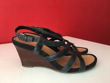 6123baa9c531ee Clarks Black Leather Strappy Wooden Wedge Heel Sandals Size 5 EUR 38