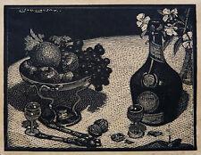 SIR LIONEL LINDSAY (1874-1961) RARE Woodcut Dessert Norman Lindsay 1924