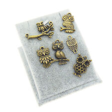 Pack of 12 Vintage Bronze Metal Cute Owls Charms Pendants Jewelry Findings Mixed