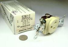 ARROW HART 5351-I NOS IVORY STRAIGHT BLADE RECEPTACLE 20A 125V 2P 3W GROUNDING
