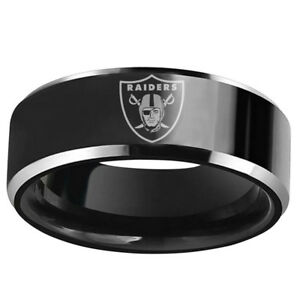 Oakland Raider  Football Team Stainless Steel Mens Band Rings Gift Size 6-13