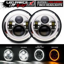 White LED Projector Headlight With Halos Hi/Lo Beam Extreme Bright Upgrade Pair