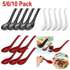 6Pcs Asian Utensils Ramen Noodle Soup Spoons+Long Handle Home Flatware Tableware