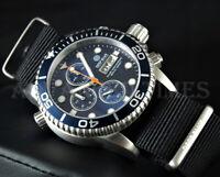 DEEP BLUE 40mm Dark Blue Dial & Bezel Diver 1000 SAPPHIRE Watch w/ Extra Strap