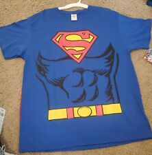 New Super Man Shirt Costume With Cape Men's Size Large
