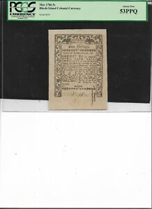 Rhode Island Colonial Currency May 1786 5s  About New 53PPQ