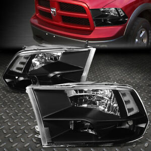 FOR 09-18 RAM 1500 2500 3500 BLACK HOUSING CLEAR CORNER HEADLIGHT HEAD LAMPS