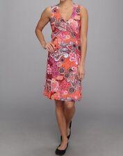 Prana Twist Dress XSl Berry Garden Floral Paisley Orange Black Pink Sleevele