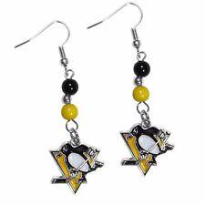 Pittsburgh Penguins Dangle Earrings (Fan Bead) NHL Licensed Hockey Jewelry