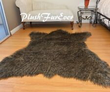 "60"" x 72"" Black Tip Wolf Accents Faux Fur Area Rug Bearskin Decor SC Love Furs"