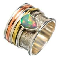 925 Sterling Silver Ethiopian Opal spinning ring, Spinner ring anxiety ring d44