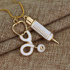 New Women Jewelry Alloy Medical Stethoscope Charm Syringe Pendant Necklace Chain