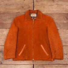 """Vintage pour homme Sears années 1940 Tan Suede Veste En Cuir Talon Zip MEDIUM 38"""" R6892"""