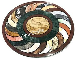 Round Marble Center Table Unique Pattern Coffee Table Top for Home 24 Inches