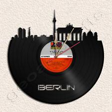 Berlin Skyline Wall Clock Vinyl Record Clock