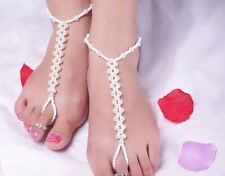 Foot Jewelry Ankle Foot Bracelet Pearl Elastic Chain Anklet Toe Ring Link Af