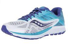 Saucony Women's Ride 10 Running Shoe, White Blue, 9 Wide US NEW