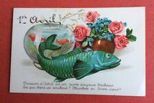 CPSM. 1er Avril. Bocal Poissons Rouges. Poisson Vert. Bouquet Fleurs. Roses.