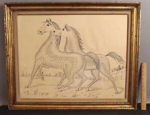 Large RARE Antique 19thC Penman CC Canan Ink Calligraphy Folk Art Horses Drawing