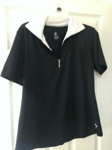 JoFit Size XL - Partial Zip Short Sleeve Black and White top