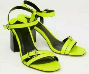 Ladies Neon Faith High Heel Shoes Block Strappy Sandals