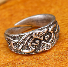 Viking Celtic Jormungandr Dragon Fafnir Nidhogg Ring Size U-V