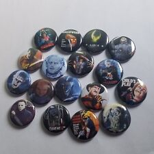 80s HORROR PINBACK BUTTON LOT of 17 - punk pin badge - friday 13th nightmare ash