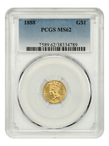 1888 G$1 PCGS MS62 - Low Mintage Issue - 1 Gold Coin - Low Mintage Issue