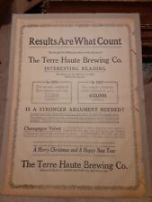1907 Terre Haute Brewing Co Full Page Newspaper Ad Champagne Velvet