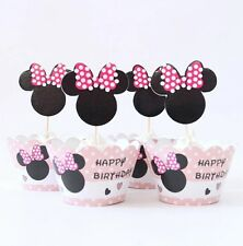 48 Pcs, 24 Minnie Mouse Cupcake Wrappers & 24 Toppers Kids Birthday Party S