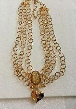 KIRKS FOLLY BRIGHT GOLD SIMPLIFY ROUND GOLD LINK BIB GOLD FOIL CRYSTAL NECKLACE