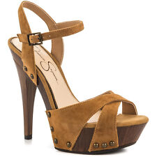 Jessica Simpson Faraday 7 M Platform Honey Brown Tan Suede Open Stiletto Sandals