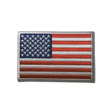 """Embroidered 3"""" American US Flag White Border Sew or Iron on Patch Biker Patch"""