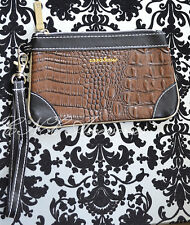 Celeb Style ZARA Basic Clutch Hand Bag Faux Leather Brown Croc Skin Pattern