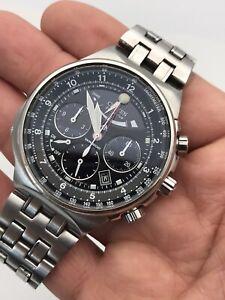 "Citizen Eco-Drive Men's Chronograph Tachymeter Silver-Tone 44mm Wristwatch 7.25"""
