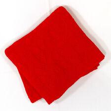 "Ralph Lauren Red Cotton Ringspun Knit Throw Blanket 50""x70"" Diamond Pattern EUC"