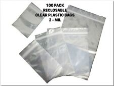 100 Pack Clear RECLOSABLE Lock Poly Plastic Bags 2 Mil - Choose Size