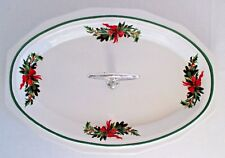 Pfaltzgraff Christmas Heritage Oval Serving Plate with Handle U. S. A.