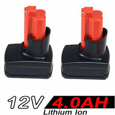 2x 4.0AH 12V Li-ion Battery For MILWAUKEE M12 M12B2 M12B4 48-11-2440 48-11-2402