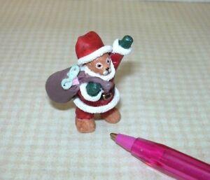 "Miniature Christmas Standing Santa Bear w/Toy Bag, 1 3/8"" Tall: DOLLHOUSE 1:12"