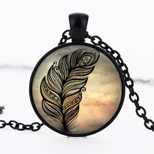 Feather photo dome Black Cabochon Glass Necklace chain Pendant