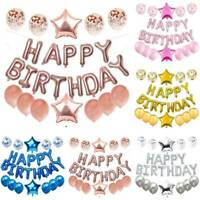 Happy Birthday Foil Balloons Bunting Banner Confetti Balloons Decor Set Party